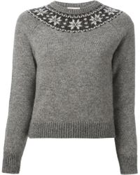 Saint Laurent Fair Isle Sweater - Lyst