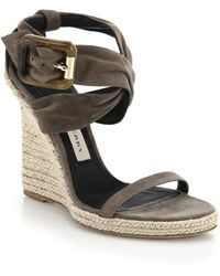 Burberry Catsbrook Suede Espadrille Wedge Sandals gray - Lyst