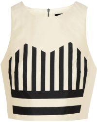 Tibi Escalante Cropped Striped Silk-Shantung Top - Lyst
