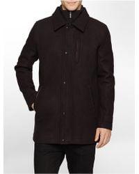 Calvin Klein White Label Melton Wool Blend Carcoat - Lyst