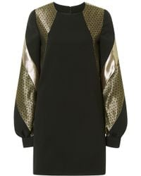 J. Mendel Long Sleeve Silk Crepe Shift Dress - Lyst
