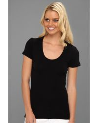 Splendid 1X1 Rib Scoop Tee - Lyst