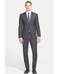 John Varvatos 'Jake' Trim Fit Plaid Wool Suit gray - Lyst