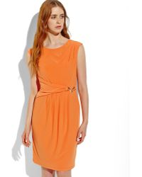 Ellen Tracy Orange Crepe Sheath Dress - Lyst