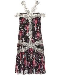 Wes Gordon Floral Embroidered Chiffon Lace Band Dress - Lyst