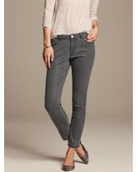 Banana Republic Coated Gray Skinny Ankle Jean Slate Wash - Lyst