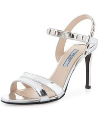Prada Simple Specchio Sandal with Studs - Lyst