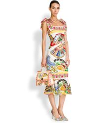 Dolce & Gabbana Tie-Shoulder Foulard-Print Dress - Lyst