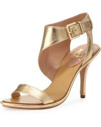 Vc Signature - Pikora Asymmetric Ankle Strap Sandal Gold - Lyst