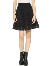 Rebecca Taylor Corded Lace Skirt - Black - Lyst