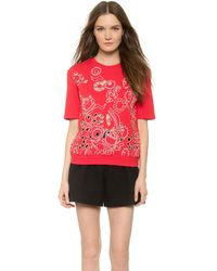 Carven Short Sleeve Sweatshirt - Red - Lyst