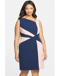 Adrianna Papell Colorblock Sheath Dress - Lyst