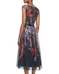 Rickie Freeman for Teri Jon Capsleeve Illusion Floral Burnout Cocktail Dress - Lyst