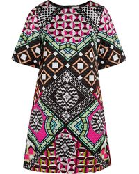 Temperley London Miri Quilted Printed Satin Dress - Lyst