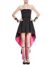 Alexis Caddington Contrast Strapless Highlow Dress Blackhot Pink Small - Lyst