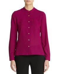 Anne Klein Button Front Blouse - Lyst