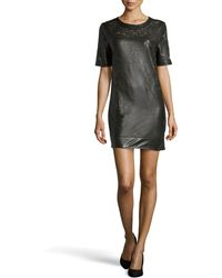 Catherine Deane Olina Lasercut Leather Shift Dress - Lyst