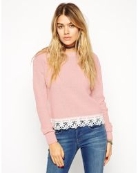 Asos Jumper With Lace Hem Detail - Lyst