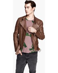 H&M Leather Biker Jacket - Lyst