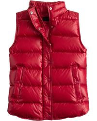 J Crew Factory Quilted Puffer Vest In Red Maraschino