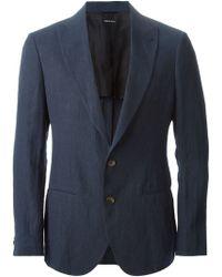 Giorgio Armani Peaked Laped Blazer blue - Lyst