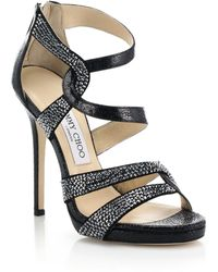 Jimmy Choo Swarovski Crystal Pebbled Leather Sandals - Lyst