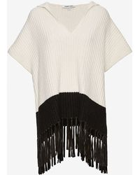 Elizabeth and James   Leather Fringe Hooded Cable Knit Poncho   Lyst