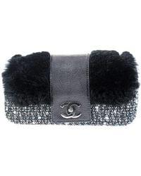 Chanel | Pre-owned: Lizard Skin Fur Tweed Flap Bag | Lyst