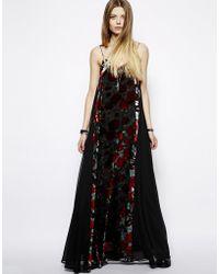 Asos Devore Rose Maxi Dress - Lyst