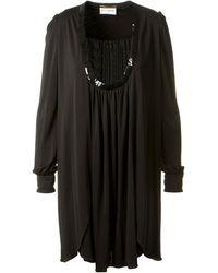 Saint Laurent Black Pleated Sequined Dress - Lyst
