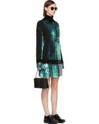 McQ by Alexander McQueen Black Knit Iridescent Sequin Turtleneck Sweater Dress - Lyst