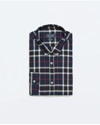 Zara Checked Flannel Shirt - Lyst
