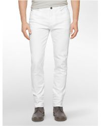 Calvin Klein Jeans Slim Leg White Wash Jeans - Lyst