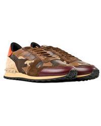 Valentino Brown Rockrunner Sneakers - Lyst