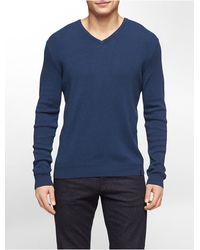 Calvin Klein White Label Cotton Modal V-Neck Sweater - Lyst