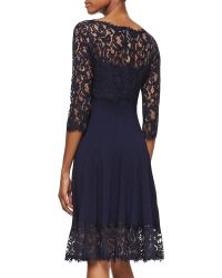 Tadashi Shoji 34sleeve Pleated Lace Cocktail Dress Royal Navy - Lyst