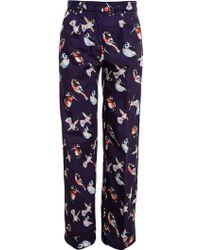 MSGM Pyjama Trousers With Bird Print - Lyst