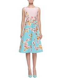 Oscar de la Renta Sleeveless Two-tone Floral Dress - Lyst