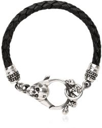 John Richmond | Braided Leather & Skull Bracelet | Lyst