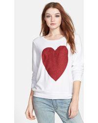 Wildfox Women'S 'Sparkle Heart' Sweatshirt - Lyst