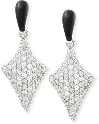 M.c.l  Matthew Campbell Laurenza - Art Deco Black Enamel & White Zircon Pave Arrow Earrings - Lyst