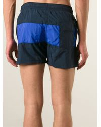 Maison Kitsuné - Contrasting Striped Swim Shorts - Lyst