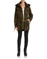 Textile Elizabeth And James Johnnie Fur-trimmed Camouflage Parka - Lyst