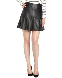 Nanette Lepore Black Leather Slick Back Skirt - Lyst