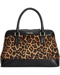 Calvin Klein Faux Fur Haircalf Satchel - Lyst