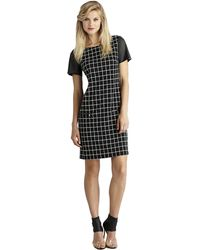 Donna Morgan Graphic Check Pu Sleeve Shift Dress - Lyst