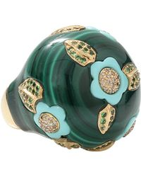 Wendy Yue Malachite And Turquoise Ring green - Lyst