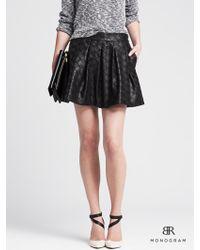 Banana Republic Br Monogram Faux-Leather Box-Pleat Skirt - Lyst