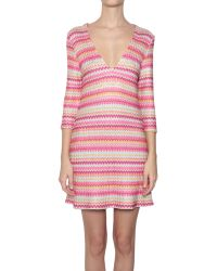 Pin Up Stars Viscose And Cotton Striped Dress - Lyst