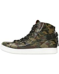 Dolce & Gabbana Camouflage Leather High Top Sneakers - Lyst